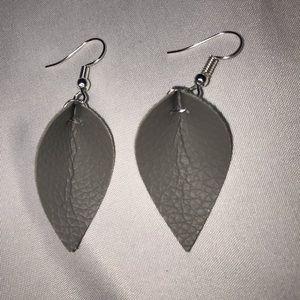 Leaf earrings NWOT Gray